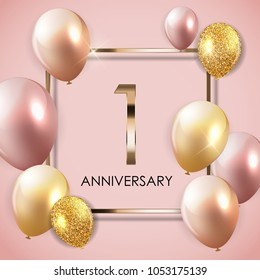 Template 1 Years Anniversary Background with Balloons Vector Illustration EPS10