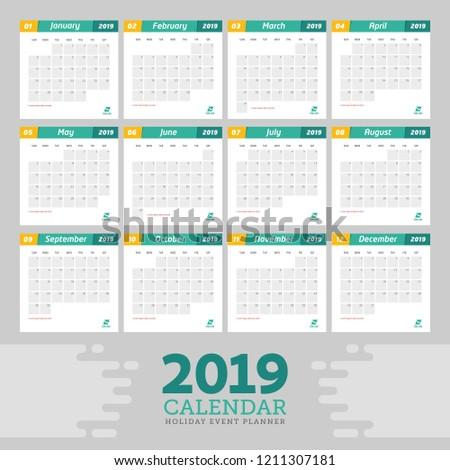 template 2019 calendar event planner