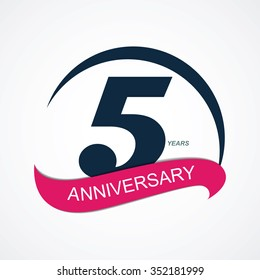 Template 5 Anniversary Vector Illustration EPS10