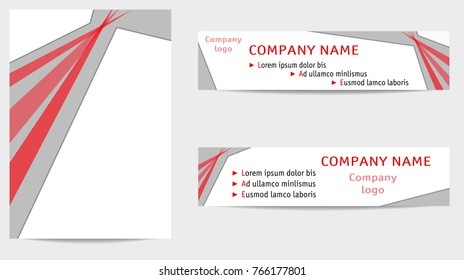 Template A4 and two banners with gray and red decor. Geometric backgrounds, flat layouts for brochures, books, magazines, portfolio, annual reports, advertising. White place for text. EPS10 vector