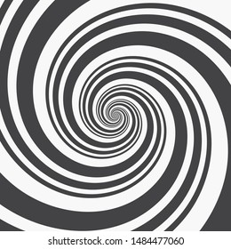 Template of Abstract Spiral Background. Black Spirals from Different Thicknesses on a White Background. Monochrome Vector Illustration