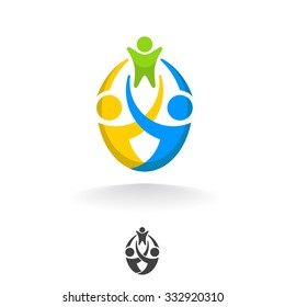 Template abstract vector logo design family. Mom and dad are holding the baby.
