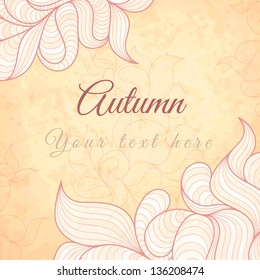 Template with abstract wavy striped leaves, in autumn or summer theme, frame design for card, packaging, invitations, decoration, etc