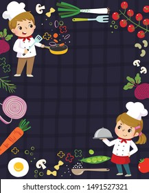 Template for advertising background in cooking concept with two kid chefs.