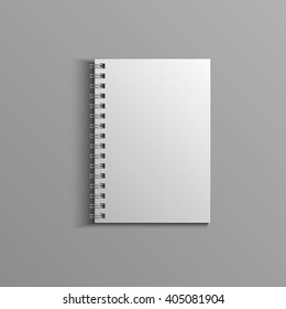 Template for advertising, branding and corporate identity. Realistic spiral notepad. Blank mockup for design. Vector white object. EPS 10