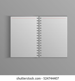 Template for advertising, branding and corporate identity. Realistic spiral notepad. Blank mockup for design. Open cardboard notebook. Sketchbook or diary. Vector white object. EPS 10