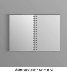 Template for advertising, branding and corporate identity. Realistic spiral notepad. Blank mockup for design. Open notebook. Sketchbook or diary.Vector white object. EPS 10