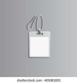 Template for advertising, branding and corporate identity.Plastic id badge with lanyard. Branding  mockup for design. Vector white object. EPS 10