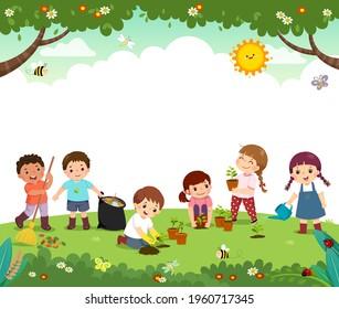 Vorlage für Werbebroschüren mit Karikaturen von Freiwilligen pflanzt Bäume im Park. Glückliche Kinder arbeiten zusammen, um die Umwelt zu verbessern.