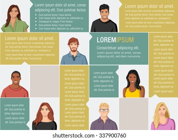 Template for advertising brochure with large group of people faces