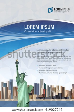 template advertising brochure statue liberty new stock vector