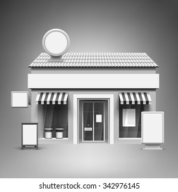 Template for advertising and corporate identity. Store. Blank mockup for design. Vector white object