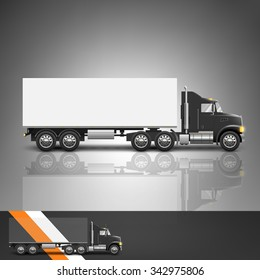 Template for advertising and corporate identity. Transport. Truck. Blank mockup for design. Vector white object