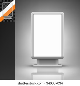 Template for advertising and corporate identity. Vertical citylight. Blank mockup for design. Vector white object