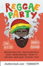 Template of advertising poster for reggae music concert or party. Black man in rasta hat making smoke cloud. Rastaman smoking marijuana. Vector illustration.