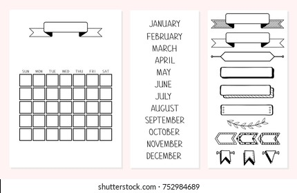 Template for all year. Set of handwritten months January, February, March, April, May, June, July, August, September, October, November,December. 2018, months, days, numbers.