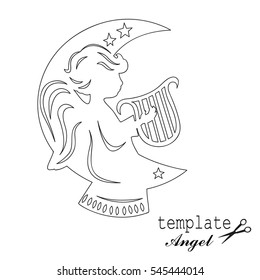 Template angel for cut of laser or engraved. Stencil for paper, plastic, wood, laser cut acrylic. Decoration for windows, wall and interior design. Cute Christmas decorations.