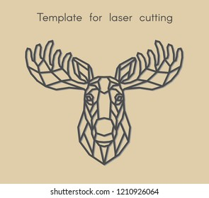 Template animal for laser cutting. Abstract geometric moose for cut. Stencil for decorative panel of wood, metal, paper. Vector illustration.