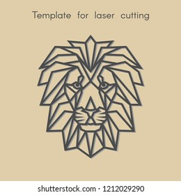 Template animal for laser cutting. Abstract geometric head lion for cut. Stencil for decorative panel of wood, metal, paper. Vector illustration.
