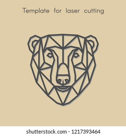 Template animal for laser cutting. Abstract geometric head polar bear for cut. Stencil for decorative panel of wood, metal, paper. Vector illustration.
