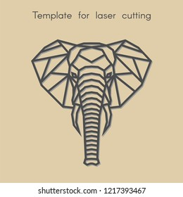 Template animal for laser cutting. Abstract geometric head elephant for cut. Stencil for decorative panel of wood, metal, paper. Vector illustration.