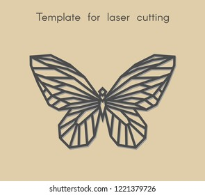 Template animal for laser cutting. Abstract geometric butterfly for cut. Stencil for decorative panel of wood, metal, paper. Vector illustration