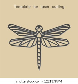 Template animal for laser cutting. Abstract geometric dragonfly for cut. Stencil for decorative panel of wood, metal, paper. Vector illustration.