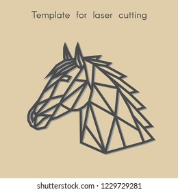 Template animal for laser cutting. Abstract geometric head horse for cut. Stencil for decorative panel of wood, metal, paper. Vector illustration.