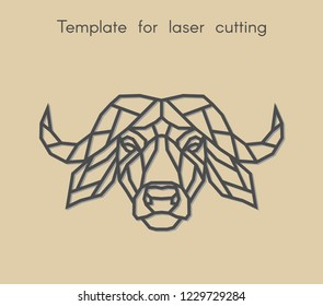 Template animal for laser cutting. Abstract geometric head buffalo for cut. Stencil for decorative panel of wood, metal, paper. Vector illustration.