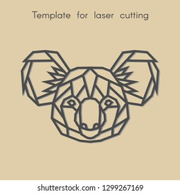 Template animal for laser cutting. Abstract geometric head koala for cut. Stencil for decorative panel of wood, metal, paper. Vector illustration.