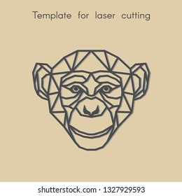 Template animal for laser cutting. Abstract geometric head monkey for cut. Stencil for decorative panel of wood, metal, paper.