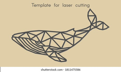 Template animal for laser cutting. Abstract geometric whale for cut. Stencil for decorative panel of wood, metal, paper. Vector illustration.