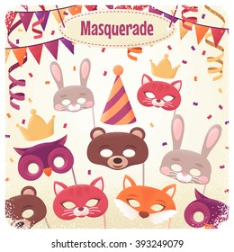 Template with animal masks, triangular flags, paper streamers and confetti. Retro vector illustration. Design for invitation, poster, card, flyer. Place for your text. Costume party layout