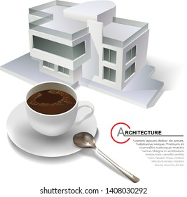 Template with architectural design elements and a cup of coffee for your business site