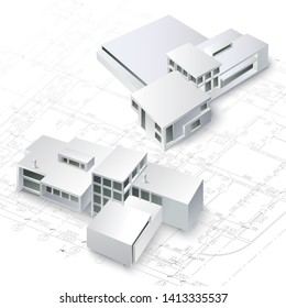 Template with architectural design elements for your business site. Vector illustration