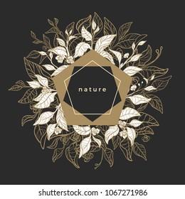 Template with art line design nature. Symbol elegant card of tea branch, leaf, flower. Retro geometric frame Vector illustration, chic invite Can be use for label, packaging, vip market, golden drink