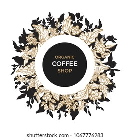 Template with art line floral design. Symbol elegant card of coffee branch, bean, flower. Tropic vector illustration Can be use for label, packaging, vip market, hot drink Coffeshop round paper emblem