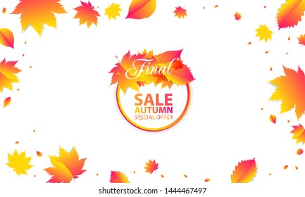 Template Autumn Background Orange yellow Sale Final. Color web banner autumn leaves watercolor brushes