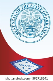 template for the award, an official document with the flag of Arkansas