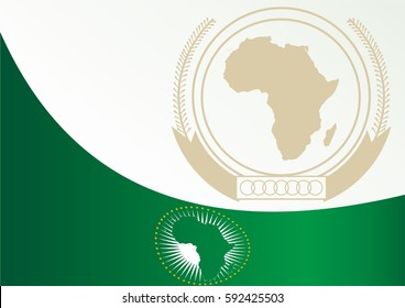 template for the award, an official document with the flag and symbol of the African Union
