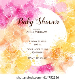 Template for baby shower invitation. design with watercolor imitation splashes and abstract flowers.