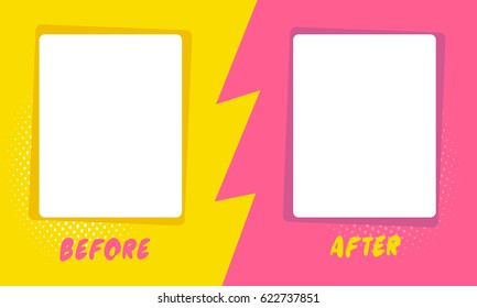 Template background before and after. Comics style design. Vector illustration