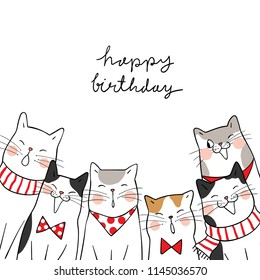 Template background design cute cats saying happy birthday.Doodle cartoon style.