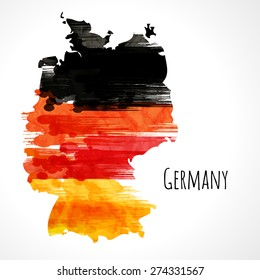 Template background. German flag made of colorful splashes