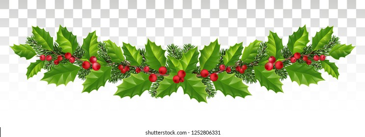 template background of holly leaf wreath and New Year fir tree decoration.  ornament for New Year winter holiday. garland with branches of spruce and holly. Long winter christmas frame.Vector. Eps10.