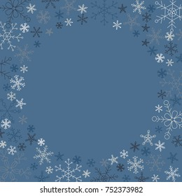 Template background for an image or text in a circle frame. Snowflakes 5 kinds, different sizes. Color: shades of blue, gray and white. Winter happy mood.