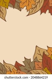 A template or background for an inscription or text. In autumn, warm colors, with leaves. For printing or online mailing.