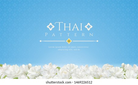 template background for Mothers day thailand and beautiful Jasmine flower with modern line Thai pattern traditional concept.
