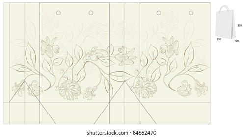 Template for bag with flowers
