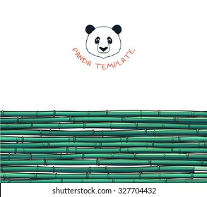 Template with a bamboo stalks and branches. Japanese background. Illustration with a bamboos and panda for design and presentations